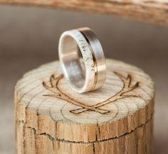 Mens Wedding Band Elk Antler Ring w/ 10K Gold Inlay  Staghead