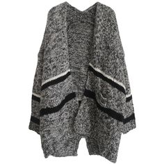 Gray Pretty Ladies Thick Color Block Oversized Cardigan Sweater (715 ARS) ❤ liked on Polyvore featuring tops, cardigans, outerwear, jackets, sweaters, grey, color block cardigan, oversized grey cardigan, thick cardigan and grey top
