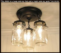 Our very popular mason jar light created from harvested vintage mason jars. * 11 1/2″ drop x 10″ wide * Hardwired installation * 40 watt maximum A15 bulb, Candle style, CFL or LED (not included) * Rub