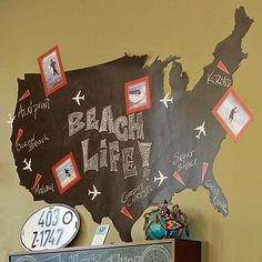 Absolutely LOVE this! Chalk Map Decal to map out places to visit or have visited!