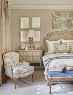 "The bedside chest is from Joseph Konrad Home Furnishings. An heirloom chair is freshened with Galbraith & Paul's ""Ovals"" fabric. - Photo: Emily Jenkins Followill / Design: Will Huff and Heather Dewberry"