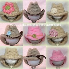 You have to see Baby cowboy hat on Craftsy! - Looking for crocheting project inspiration? Check out Baby cowboy hat by member debileigh. Crochet Cap, Crochet Baby Hats, Crochet Beanie, Love Crochet, Crochet For Kids, Crochet Clothes, Baby Knitting, Knitted Hats, Chrochet