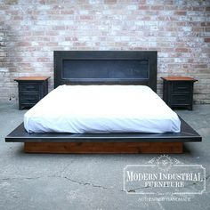 Modern Industrial Platform steel bed with wood accents. All handmade in the USA by Modern Industrial Furniture Industrial Platform Beds, Cama Industrial, Modern Industrial Furniture, Modern Platform Bed, Industrial Style, Industrial Bed Frame, Metal Industrial, Steel Furniture, Bedroom Furniture