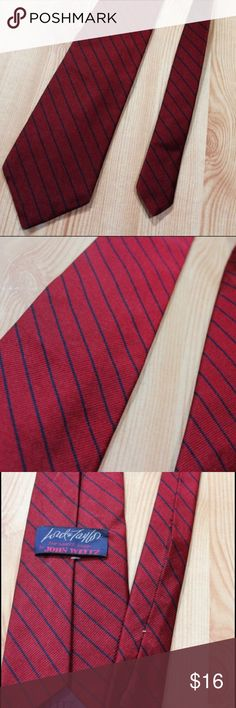 "Red Navy Blue Stripe Silk Repp Tie by John Weitz This nice men's dark red silk repp tie with thin navy blue stripes.  Made by John Weitz for The Man's Shop, Lord and Taylor.  Tie is in good condition with very light signs of previous wear but no notable defects.  Width at widest point - 3"" Length - 56"" Tag - Lord And Taylor, The Man's Shop, John Weitz.  No material label, but feels like 100% silk. Accessories Ties"