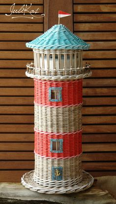 House for toilet paper, in the form of a Lighthouse - basket for toilet paper - lighthouse decor - Original basket - funny bathroom art Weaving Designs, Weaving Projects, Weaving Art, Newspaper Basket, Newspaper Crafts, Diy Paper, Paper Art, Paper Basket Weaving, Fun Crafts