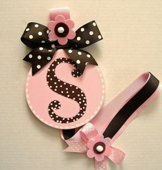 letter S hairbow holder | Pink & Brown Hairbow Holder, Handpainted Hairbow Holder