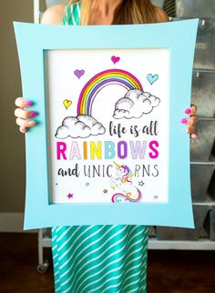 Unicorn Poster Life is All Rainbows and Unicorns | Unicorn Birthday Party Decorations + Party Favors | by Jessica Wilcox of Modern Moments Designs | www.modernmomentsdesigns.com