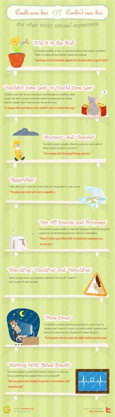 Aprende inglés: expresiones difíciles mal utilizadas #infografia #infographic #education