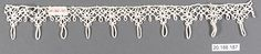 Edging Date: 1500–1550 Culture: Italian, Venice Medium: Bobbin lace Dimensions: H. 1 1/2 x W. 9 1/2 inches (3.8 x 24.1 cm) Classification: Textiles-Laces Credit Line: Rogers Fund, 1920 Accession Number: 20.186.187