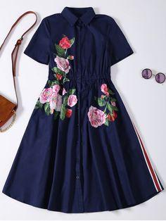 $32.99 Button Up Sequins Rose Shirt Dress - CADETBLUE S