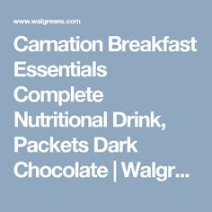 Carnation Breakfast Essentials Complete Nutritional Drink, No Sugar Added, Packets Rich Milk Chocolate Calcium Vitamins, Vitamins And Minerals, Nutrition Drinks, Proper Nutrition, Carnation Breakfast, Cramp Remedies, French Vanilla, Natural Medicine, Carnations