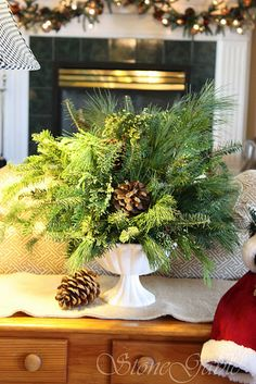 Love this idea. A simple, natural centerpiece for the Christmas table.