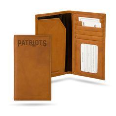 New England Patriots Natural Leather Roper Wallet