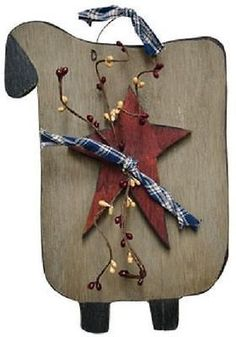 Primitive Wooden Grungy Stained Sheep with Red Star