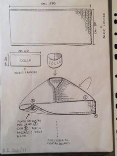 e non solo! Crochet Shawl Diagram, Crochet Cardigan Pattern, Knitting Patterns, Sewing Patterns, Loom Knitting, Knitting Stitches, Knitting Designs, Hand Knitting, Pull Crochet