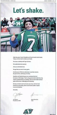 """Roughriders ad """"making friends"""" with Grey Cup runners up and their fans, the Tiger-Cats. Very smart! Go Rider, Saskatchewan Roughriders, Amazing Grays, Grey Cup, Shake Hands, Continue Reading, Green Colors, Hamilton, Champion"""