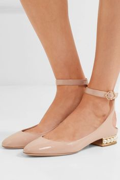 Nicholas Kirkwood - Lola Embellished Patent-leather Ballet Flats - Blush - IT39.5