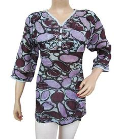 Iba Exports Cotton Embroidery Evening Top Women Summer Wear Blouse Purple Tunic Tank Short Kurti Size M ibaexports. $29.99