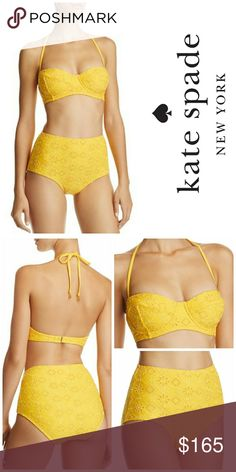 NWT, Kate Spade Saffron 2 Pc Bikini Set Kate Spade new york's signature mastery for playfully feminine designs makes this eyelet-detailed bikini impossibly charming.   The gorgeous yellow/saffron color makes this the suit of the year! I have 2 sizes available. Both are brand new with tags attached and with hygienic liner in tact. The top has underwires built in the cups. kate spade Swim