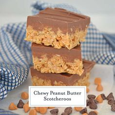 Classic Scotcheroos made with Rice Krispies, peanut butter, chocolate and butterscotch chips. The ultimate no-bake bar dessert! Whipped Peanut Butter, Gluten Free Peanut Butter, Dessert Drinks, Dessert Bars, Krispie Treats, Rice Krispies, Candy Recipes, Dessert Recipes, Scotcheroos Recipe