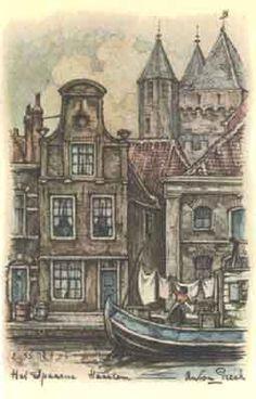 Anton Pieck along the  Spaarne, Haarlem,Noord-Holland