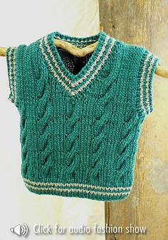 This cable vest knitting pattern comes for four different sizes: 12-18 months, 2 years, 4 years, and 6 years.