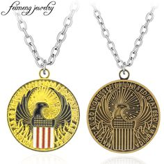 Fantastic Beasts And Where To Find Them Necklace Long Chain Retro Bronze Eagle Coin Pendant Fashion Jewelry Accessories For Fans
