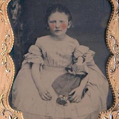 c1860 RARE QUARTER PLATE AMBROTYPE in CASE, LITTLE GIRL w ANTIQUE PORCELAIN DOLL