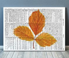 Pretty contemporary Dictionary decor. Gorgeous Leaf print for your home and office. Adorable Watercolor print. Amazing Fall leaf poster. SIZES: A4