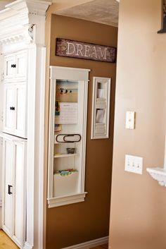 Tidbits from the Tremaynes-use inner wall space to make command area for mail, household file etc, love this! Home Renovation, Home Remodeling, Foyer Decorating, Up House, Wall Storage, Storage Place, Home Depot, Home Organization, Organization Station