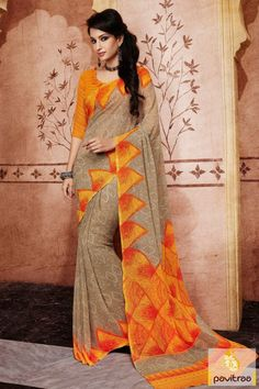 Get fresh style by wearing this beautiful orange and beige color georgette casual saree online shopping with discount. Shop online this Indian georgette saree at lowest price in India. #sarees, #casualwearsaree, #casualsaree, #onlinesareeshopping, #georgettecasualsaree, #printedcasualsaree, #discountoffer, #pavitraafashion, #utsavfashion, #lowestpricesaree http://www.pavitraa.in/store/casual-saree/ callus:+91-7698234040