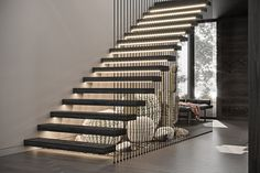Great Idea 10 Awesome Home Stair Ideas To Stunning Interior Design Home stairs are one of the interior designs that can be considered very unique, because the presence of stairs in the house is one way to get around t. Stair Railing Design, Home Stairs Design, Staircase Railings, Modern House Design, Staircase Design Modern, Banisters, Staircases, Staircase Lighting Ideas, Floating Staircase