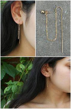 2-piercings set Threader earrings 14k gold filled threaded
