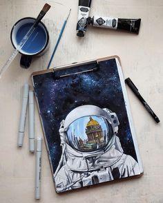 """Работаю сейчас над космическими иллюстрациями. Готов первый рисунок – """"Петербургский космонавт"""""""