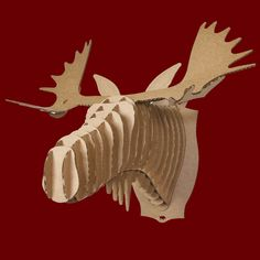 FRED l'Elan - Décoration murale, trophée en carton, Cardboard Safari