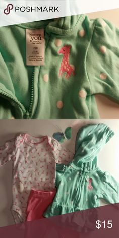Giraffe-Themed 3pc Set Too cute!! Show off your little one's sassy style with this green and pink giraffe ensemble from Carter's. Only worn once or twice. Comes with long pink leggings, onesie with giraffe pattern, and a matching ruffled hoodie. Carter's Matching Sets