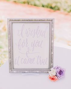 Print from lettersofgracecalligraphy.com   Read More: http://www.stylemepretty.com/2014/07/01/romantic-lavender-wedding-inspiration/   Styling + Florals: dearsweetheartevents.com   Photography: Rachel May - www.rachel-may.com