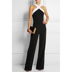 Sexy V-Neck Sleeveless Black and White Spliced Women's Jumpsuit