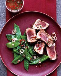 Spice-Crusted Tuna with Thai Snow Pea Salad Recipe