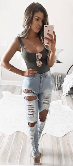 #summer #outfits Khaki Bodysuit + Ripped Jeans
