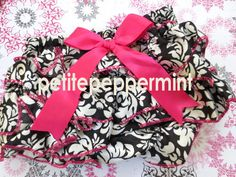 Aww I love this print! Hot Pink Damask Baby Bloomer Diaper Cover. $7.95, via Etsy.