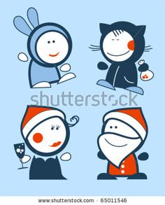 stock vector : Set of new years funny people icons.