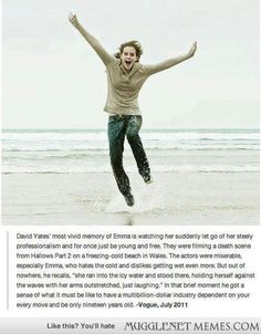 David Yates on Emma Watson running into the freezing cold ocean during filming of Deathly Hallows