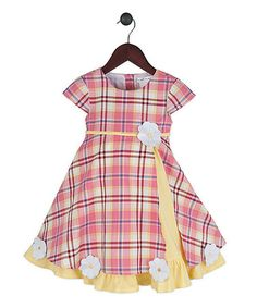 Loving this Pink Plaid & Yellow Sugarplum Dress - Infant, Toddler & Girls on #zulily! #zulilyfinds