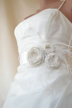 Handcrafted Three Rose With Feathers Ivory Wedding by elitewomen, $49.50 - LOVE -  This gorgeous Bridal Sash Is handmade with satin fabric, rhinestone, pearls, feathers, organza.. Low price but high quality, Sash ribbon size measures 3 yards , please let me know if you would like to customize shorter or longer length. The ribbon is 2 1/2 inch(60mm) wide. It is handmade so every is different and unique!