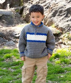 Rugby Pullover Crochet Pattern | Red Heart