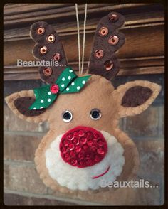 Handmade Felt  Rudolph Ornament / Gift Tag by BEAUXTAILS on Etsy