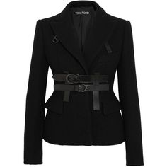 TOM FORD Leather-trimmed boiled wool blazer ($2,680) ❤ liked on Polyvore featuring outerwear, jackets, blazers, leather trim blazer, boiled wool blazer, tom ford, tom ford jacket and blazer jacket
