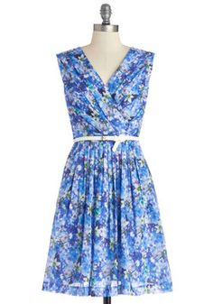 Kiss and Trellis Dress in Moonlit Garden. Inspired by the unique shadow that your backyard trellis casts, you slip into this sleeveless cotton dress. #blue #modcloth
