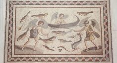 Floor Mosaic with Erotes Fishing, Late Roman, 2nd-3rd century, mosaic (BZ.1940.64)